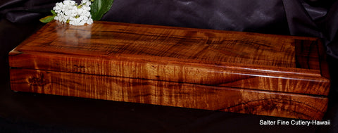 Handcrafted Hawaiian koa wood presentation box for custom 18-piece steak knife set by Salter Fine Cutlery