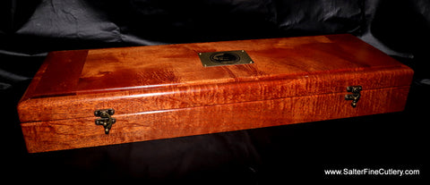 Beautiful handcrafted presentation box of Hawaiian kiawe wood by Salter Fine Cutlery
