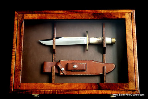 Wall display case custom made to hold collectible knife by Salter Fine Cutlery of Hawaii