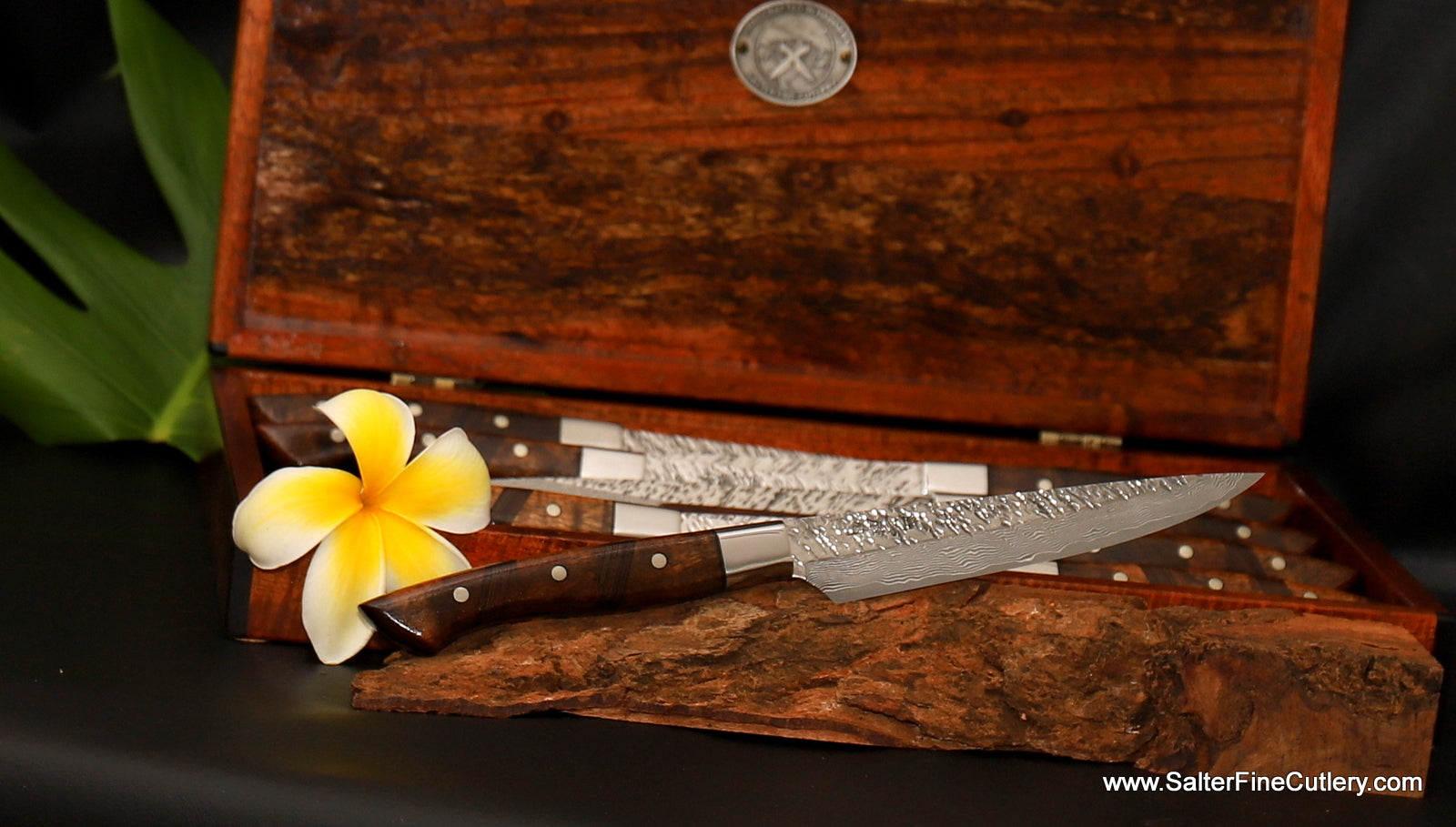 New Raptor design luxury steak knives for outdoor living or fine dining by Salter Fine Cutlery of Hawaii