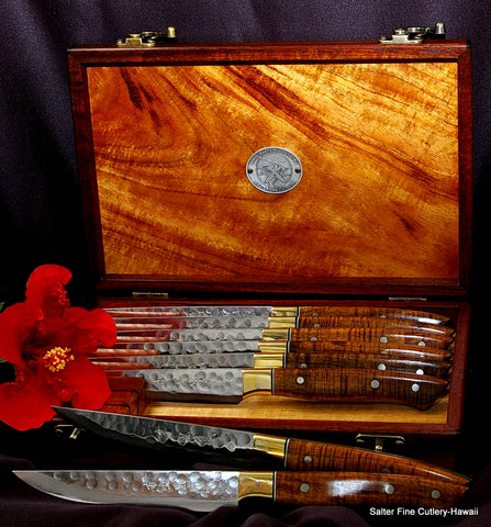 Luxury steak knife set handcrafted with exotic wood handles by Salter Fine Cutlery