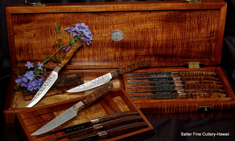 Beautiful custom bespoke cutlery highest quality steak knives for luxury homes by Salter Fine Cutlery