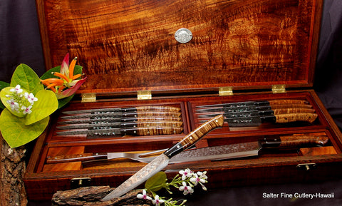 Handcrafted combination luxury steak knife set with added matching carving set in beautiful display box by Salter Fine Cutlery