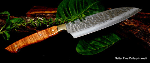 Center: 170mm Santoku with brass bolster