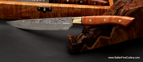 Raptor design steak knife blade with lychee wood handle and brass bolster by Salter Fine Cutlery