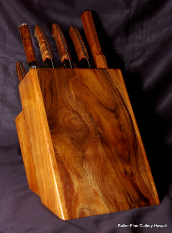 Custom 10-piece chef and steak knife set in traditional block stand by Salter Fine Cutlery