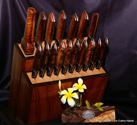 Large handmade steak and chef knife set with matching stand from Salter Fine Cutlery