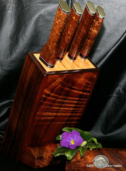 Knife block for custom 4-piece chef knife set by Salter Fine Cutlery of Hawaii