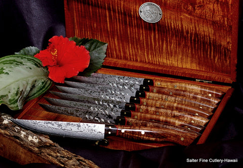 Handcrafted excellence in a handforged stainless steel steak knife set by Salter Fine Cutlery of Hawaii