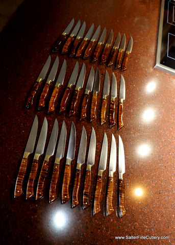 30-piece steak knife set after resharpening and handle refurbishing service