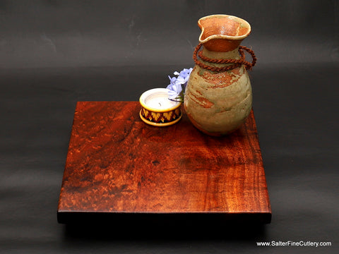 Table centerpieces in any size handcrafted of solid curly Hawaiian koa wood with floating appearance above inset sturdy base from Salter Fine Cutlery of Hawaii