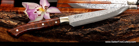 Exotic handmade steak knife featuring our Raptor design steak knife blade with thuya burl wood handle, nickel-silver bolster and black accents from Salter Fine Cutlery luxury tableware from Hawaii