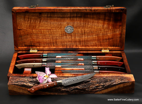 8-piece Raptor-design luxury steak knife set in presentation box with mixed exotic wood handles from Salter Fine Cutlery of Hawaii