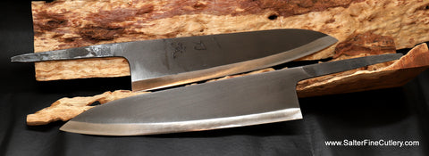 New professional shirogami chef knives with a black matte finish from Salter Fine Cutlery