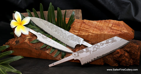 Enhance your modern kitchen with handmade chef knives with a white frost finish from Salter Fine Cutlery