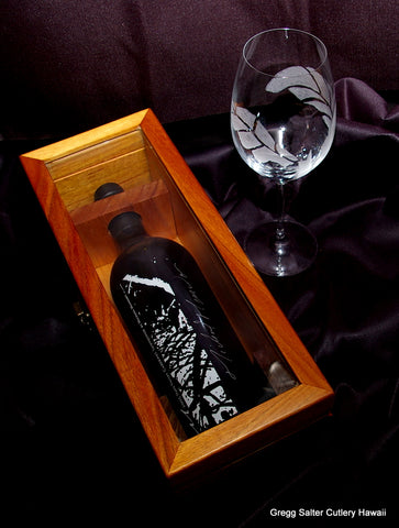 Koa wood box to hold special signed presentation bottle of wine