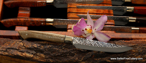 Exotic ylang-ylang perfume wood with nickel-silver bolster and black accents in this beautiful modern looking handle with our Raptor-design steak knife from Salter Fine Cutlery