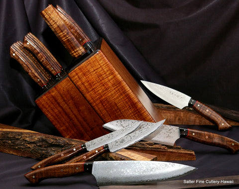 Handmade Quality Kitchen Knife Set with Koa Knife Block by Salter Fine Cutlery