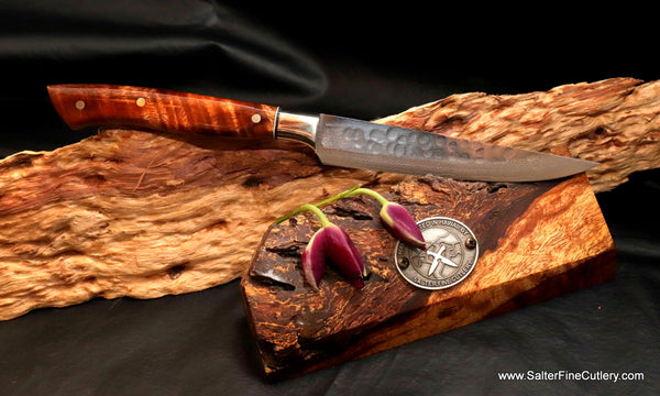 130mm Steak-Sandwich or Utility Knife hand-forged Japanese stainless steel with Hawaiian koa wood handle by Salter Fine Cutlery