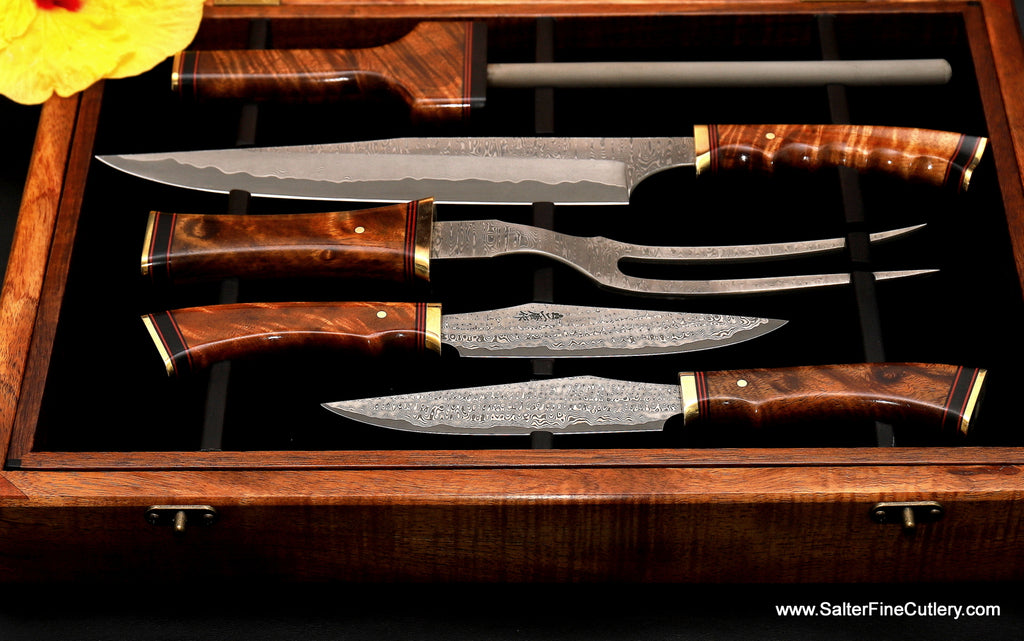 138mm Charybdis-design series new Tomahawk XL steak knives with carving set detail view in box by Salter Fine Cutlery of Hawaii