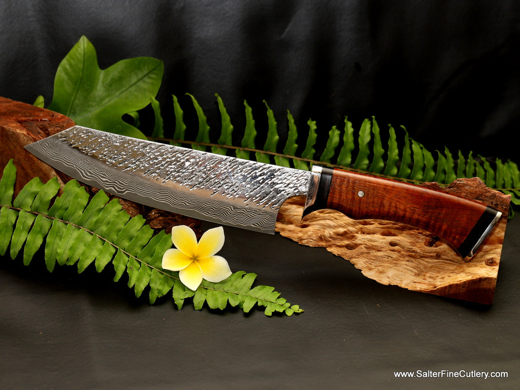 Beautiful exclusive design luxury hand-forged all-purpose chef and vegetable knife with curly koa wood handle from Salter Fine Cutlery of Hawaii