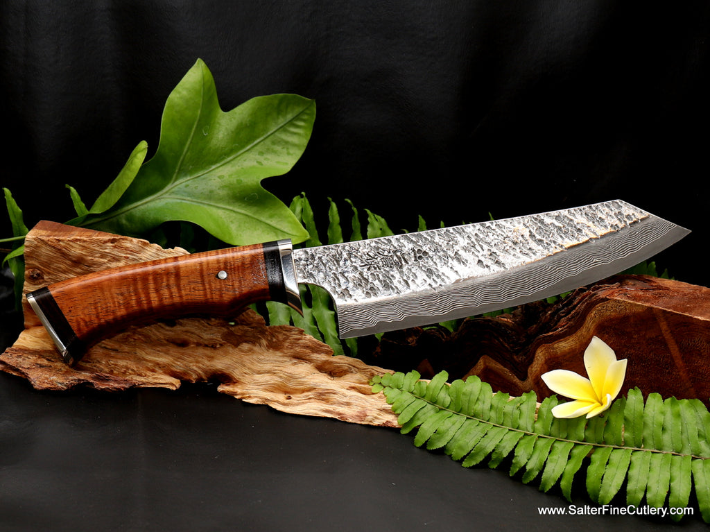 180mm bunka design chef and vegetable knife with Raptor finish and handmade handle featuring stainless steel and ebony accents from Salter Fine Cutlery