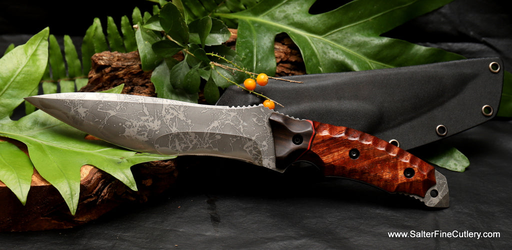 190m Kiku collectible knife with koa and ebony scalloped handle and kydex sheath form Salter Fine Cutlery