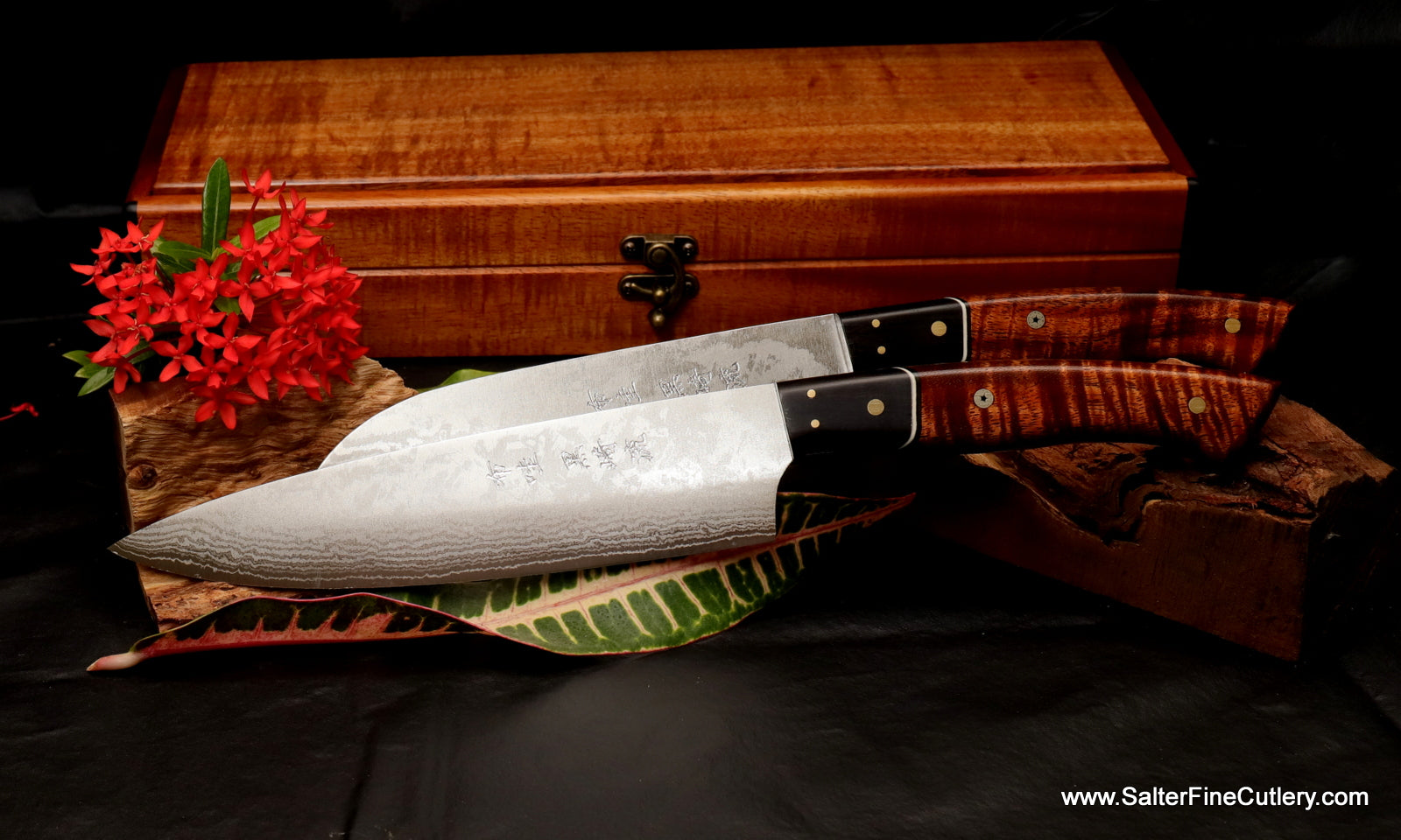 8 inch chef knife and 7 inch santoku with keepsake box by Salter Fine Cutlery