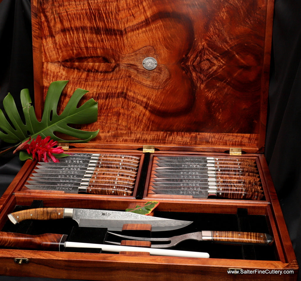 Charybdis full tang carving set as part of a large steak and carving knife combo set in presentation box from Salter Fine Cutlery