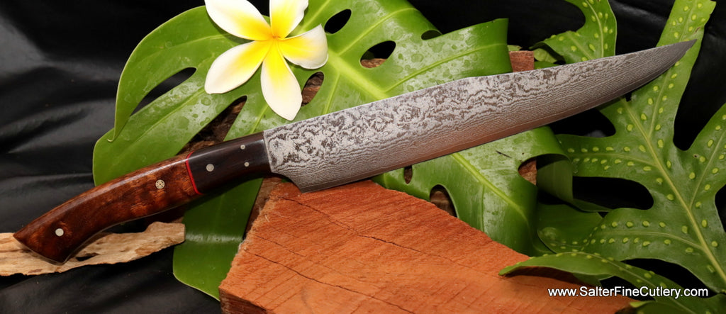 240mm Japanese handforged damascus carving knife with curly koa wood and ebony handle Salter Fine Cutlery