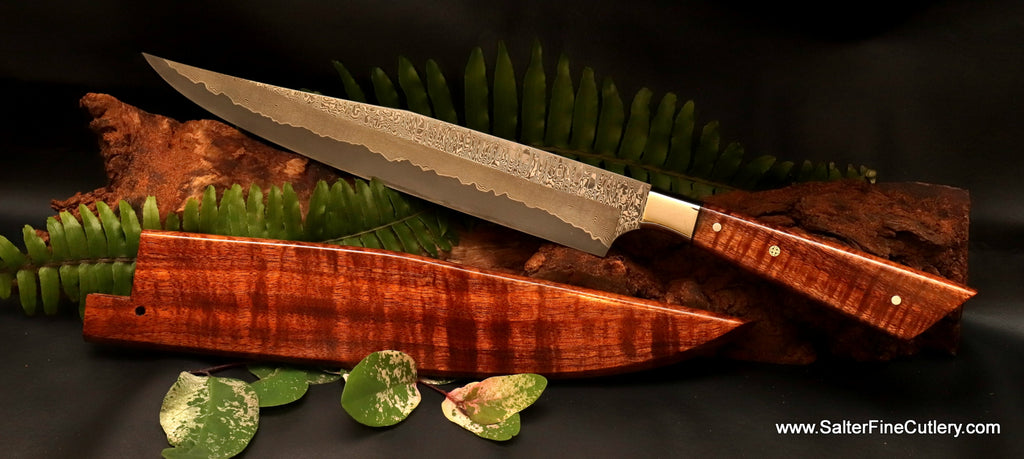 Handmade custom long carving knife with decorative handle and matching saya by Salter Fine Cutlery