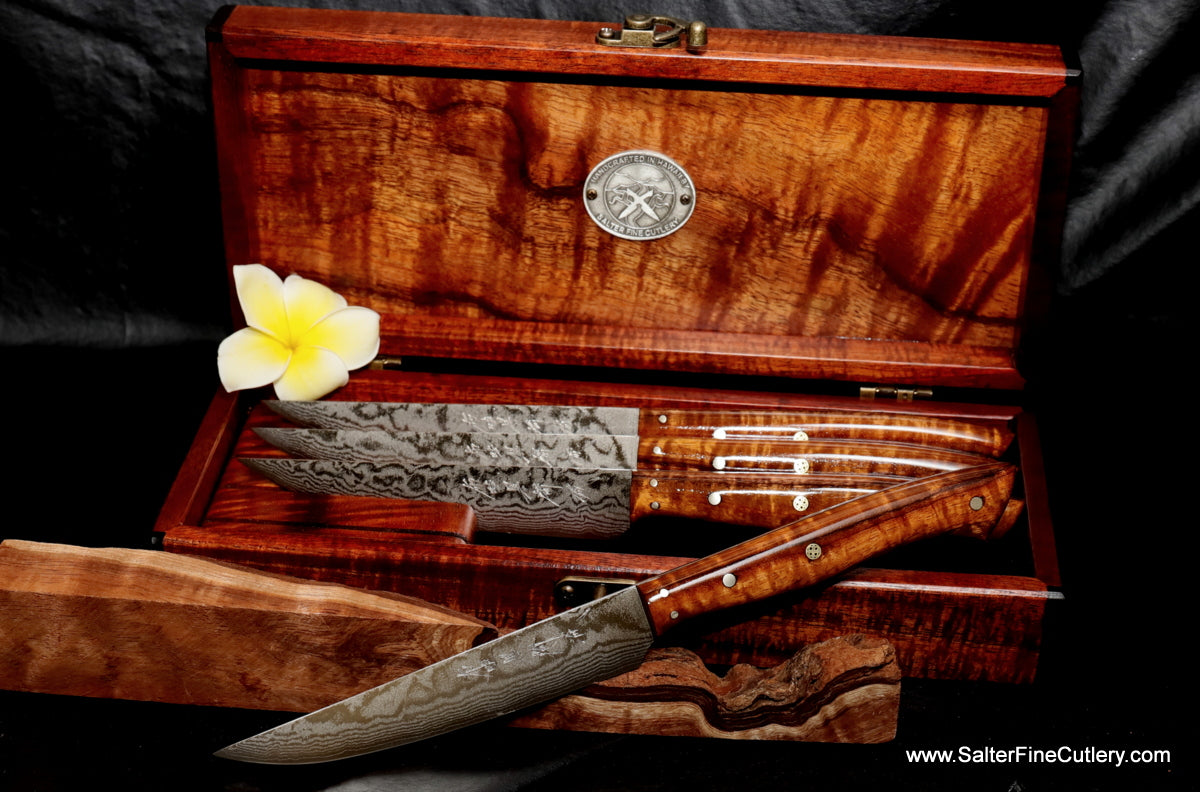 Handmade custom damascus steak knife set in keepsake box