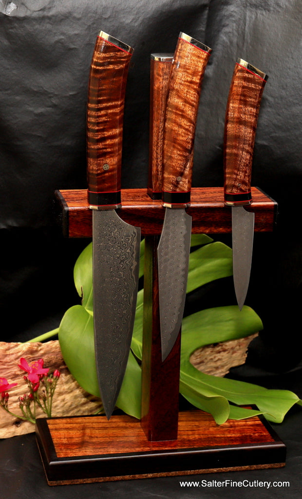 Salter Fine Cutlery magnetic knife stand with integrated sharpening rod exclusive design handcrafted