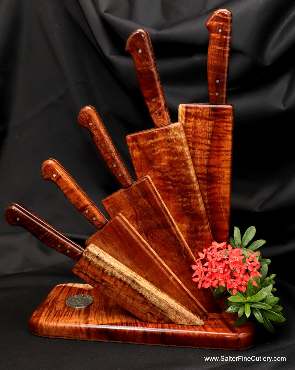 5-piece handmade chef knife set in fan stand by Salter Fine Cutlery of Hawaii