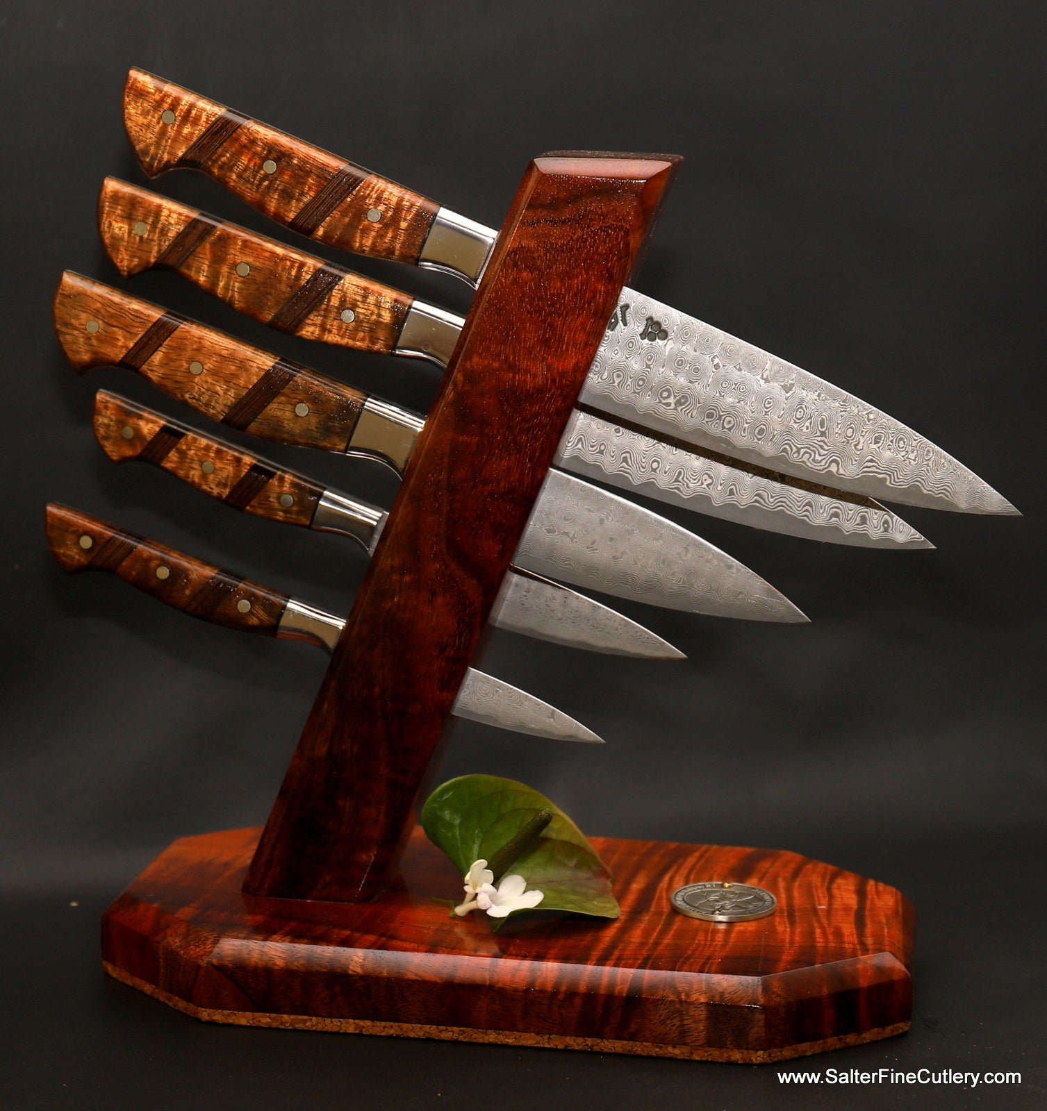 Custom handforged luxury chef knife set in stand handmade in Hawaii by Salter Fine Cutlery