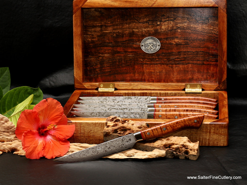 6-pc steak knife set in presentation box with beautiful curly koa wood handles luxury tableware from Salter Fine Cutlery