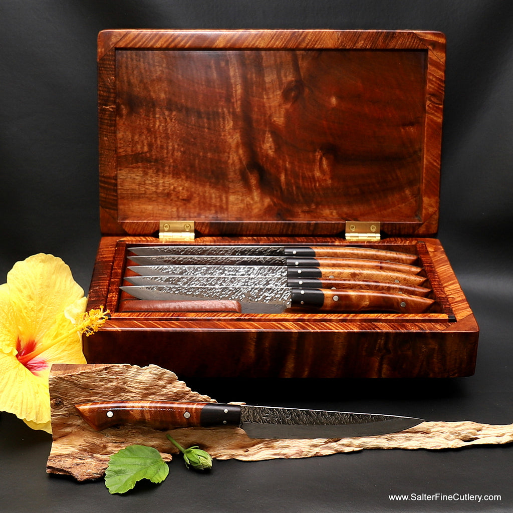 6-piece steak knife set hand-forged Raptor design series in beautiful presentation box by Salter Fine Cutlery of Hawaii