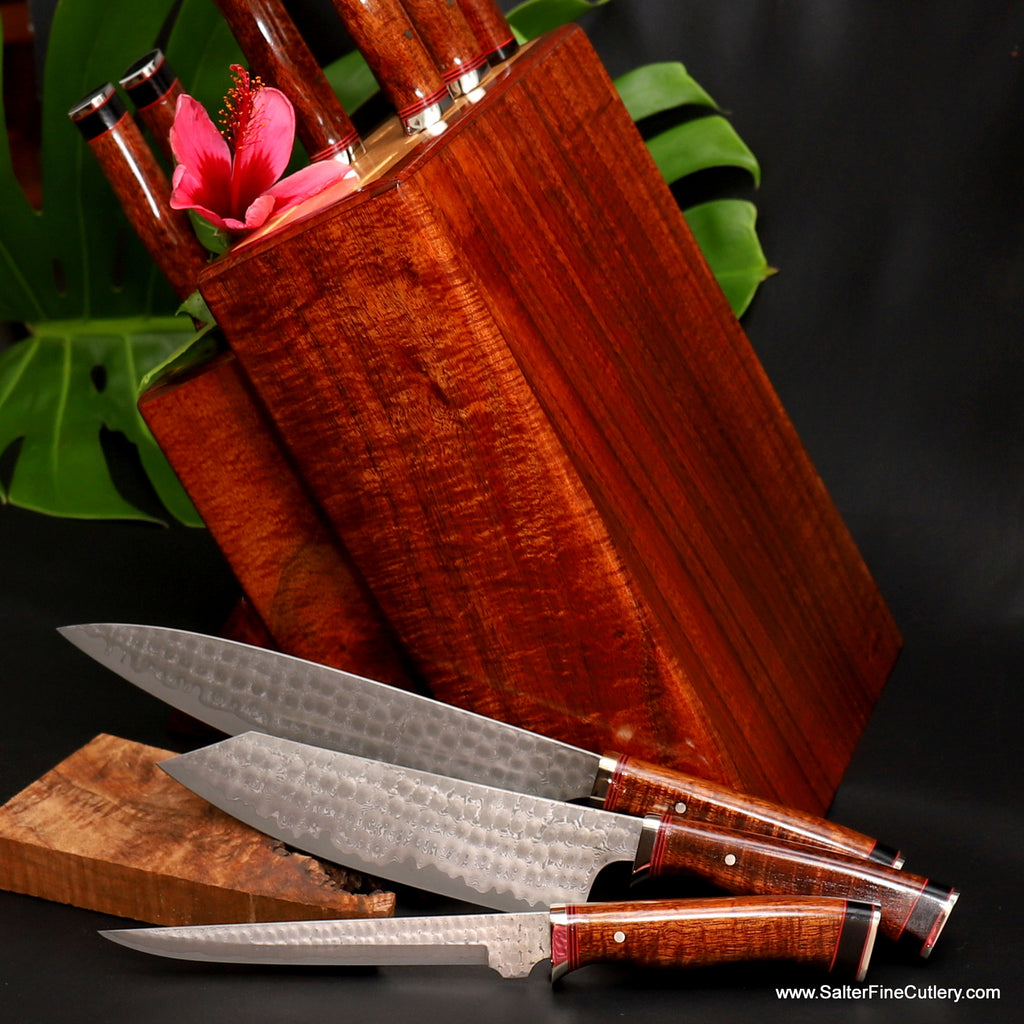 9-pc beautiful luxury handmade chef knife set in koa wood knife block by Salter Fine Cutlery of Hawaii