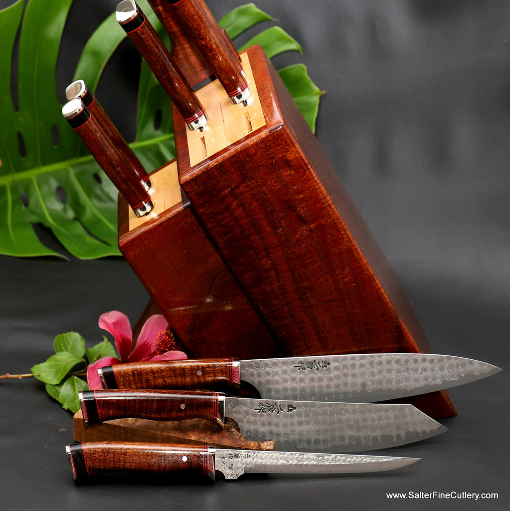 9-piece luxury chef set in knife block of exotic rare koa wood handmade in Hawaii by Salter Fine Cutlery
