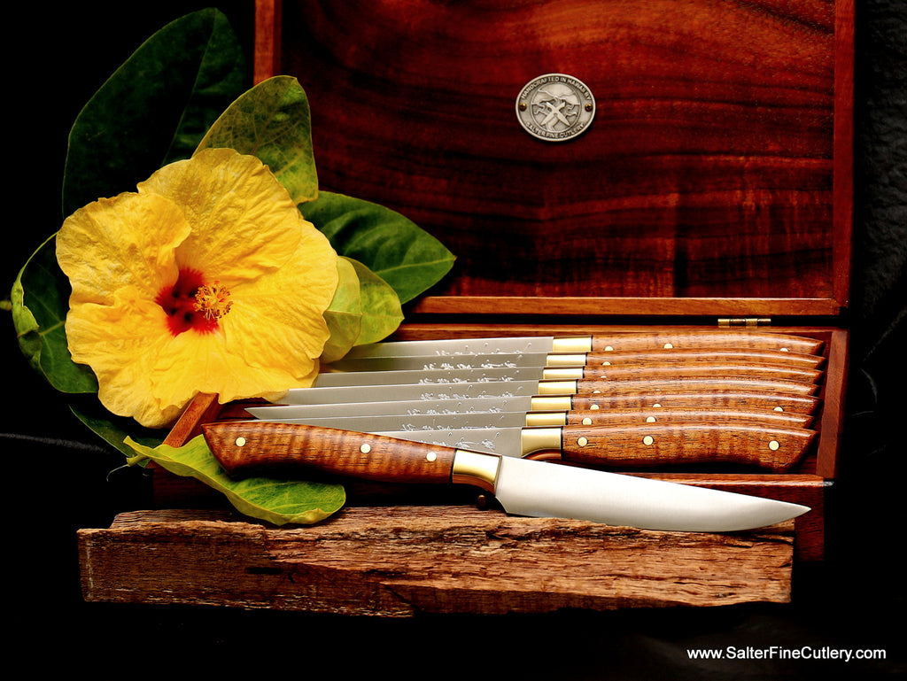 Beautiful blonde curly koa wood handles and brass bolsters custom handcrafted keepsake box handmade 8-pc steak knife set from Salter Fine Cutlery