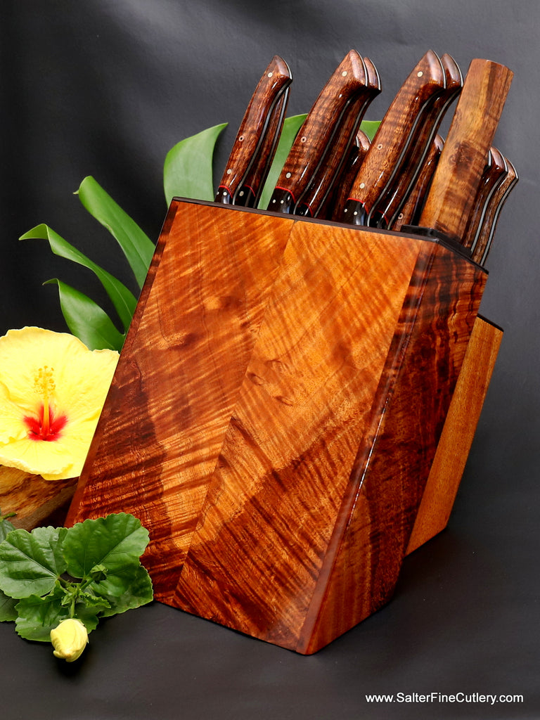 Beautiful modern styling in this distinctive handcrafted chef knife set and block storage system for luxury kitchens 19-piece combination chef and steak knife set from Salter Fine Cutlery of Hawaii