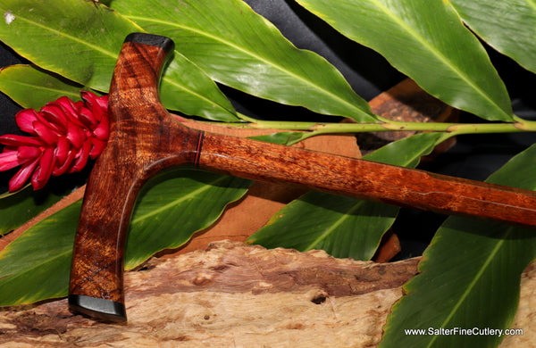 Curly koa wood cane with straight top design by Salter Fine Cutlery of Hawaii