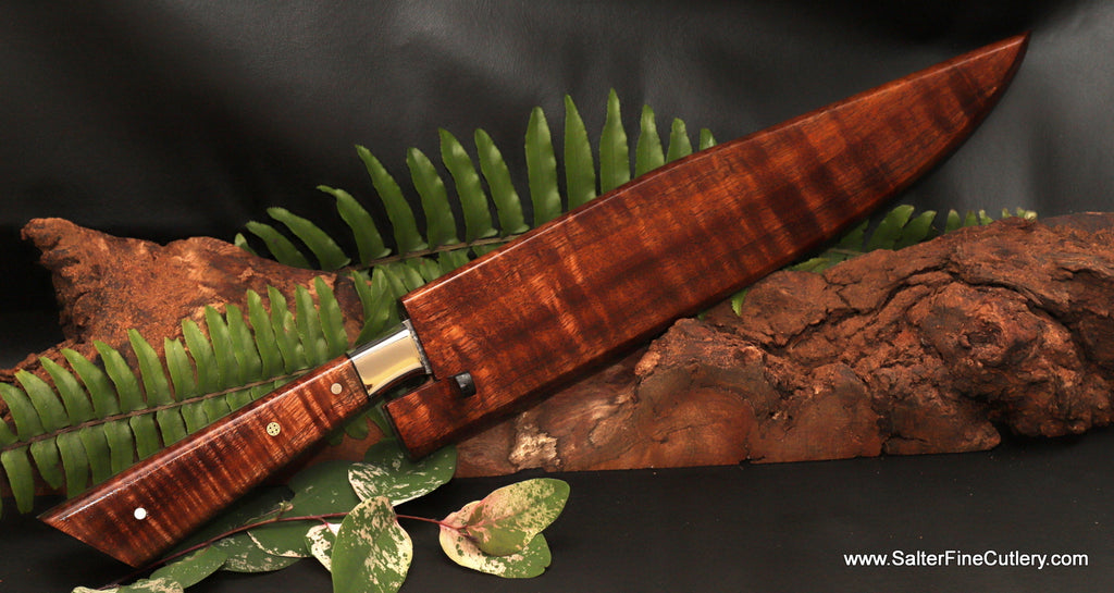 270mm carving knife with matching curly koa wood saya by Salter Fine Cutlery