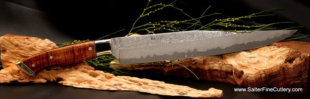Stainless Gingami3 hand-forged steel Charybdis full tang 270mm carving knife exclusively from Salter Fine Cutlery