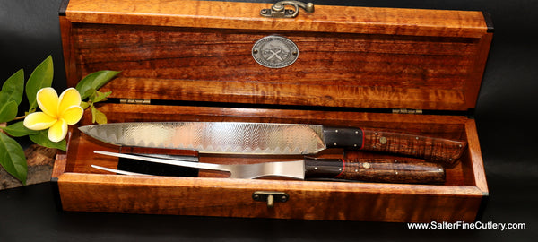 Handmade carving set by Salter Fine Cutlery of Hawaii