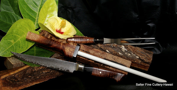 3-piece handcrafted carving set by Salter Fine Cutlery of Hawaii