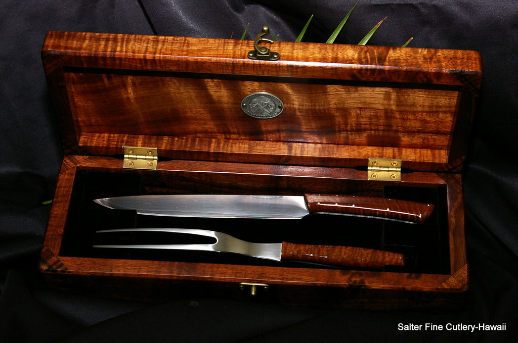 2-piece handcrafted carving set in presentation box by Salter Fine Cutlery of Hawaii