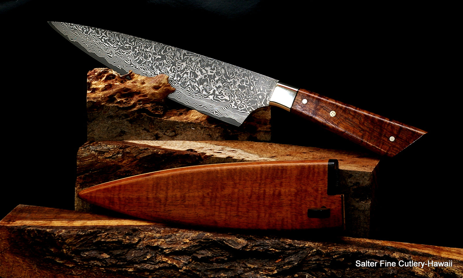 210mm French Fusion Stainless Damascus Chef Knife With Sheath From Salter  Fine Cutlery