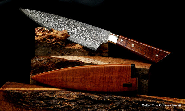 210mm French-Fusion hand-forged chef knife with sheath from Salter Fine Cutlery