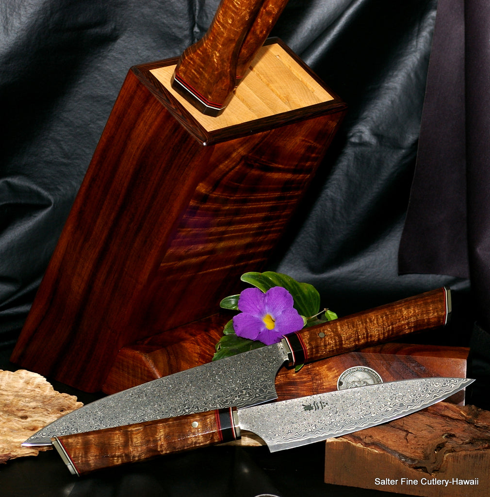 Chef knife set custom hand-forged kitchen knives in block stand by Salter Fine Cutlery of Hawaii
